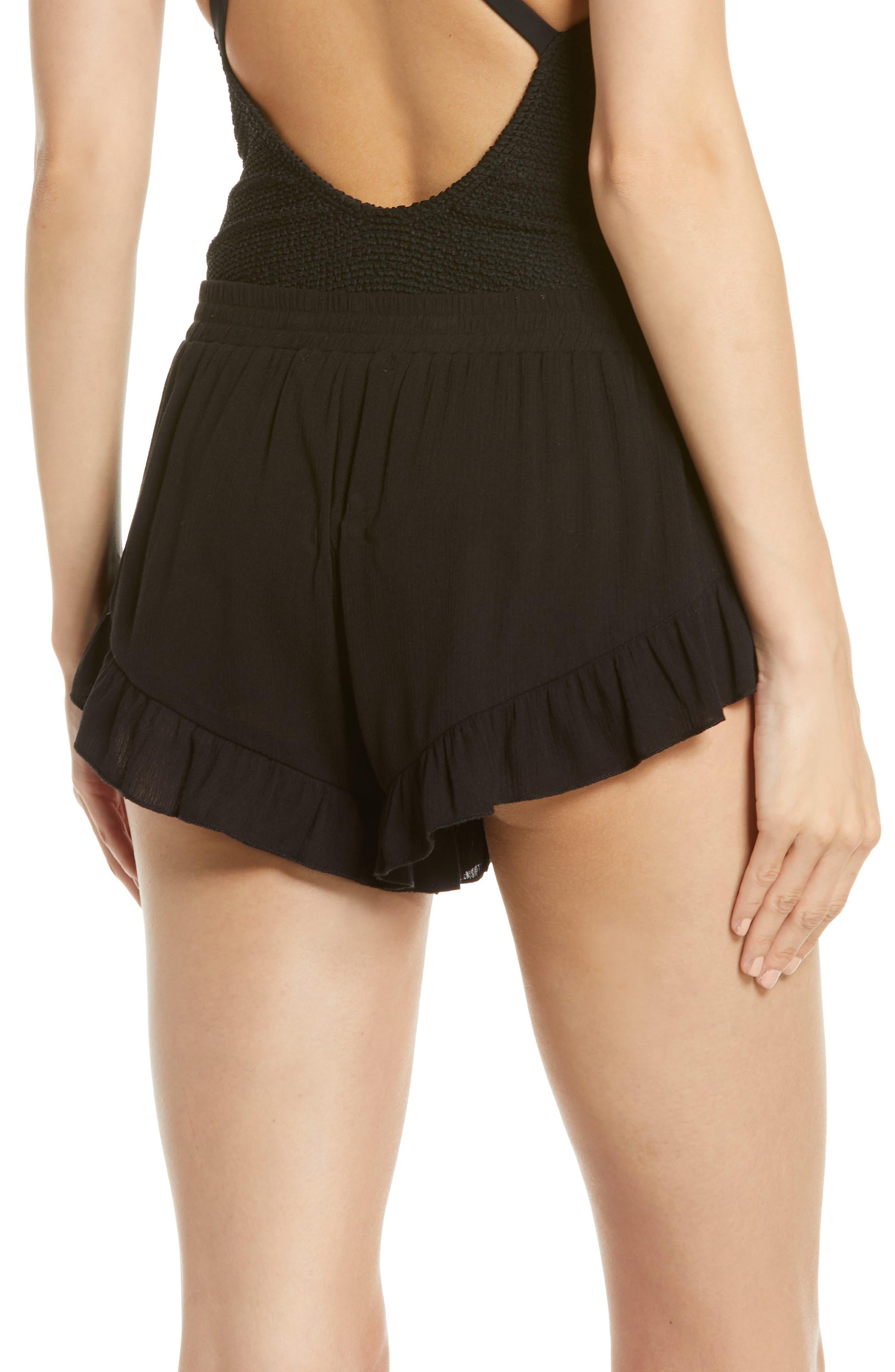 ,                             Flounce Cover-Up Shorts,                             Alternate thumbnail 2, color,                             BLACK
