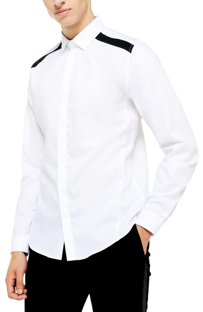 TOPMAN Slim Fit Panel Trim Shirt, Main, color, 100