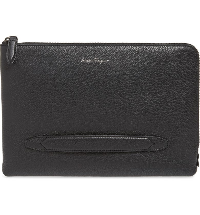 SALVATORE FERRAGAMO Firenze Leather Portfolio, Main, color, 001