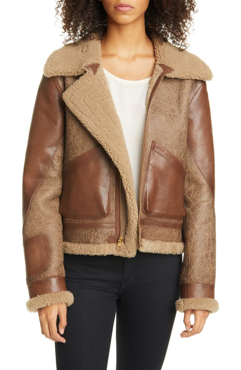 SIMON MILLER Laga Genuine Shearling Jacket, Main, color, CHOCOLATE