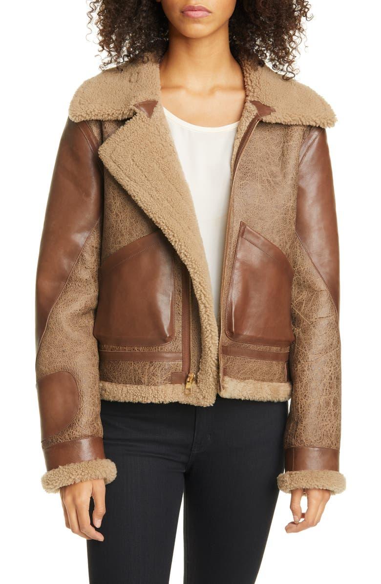 SIMON MILLER Laga Genuine Shearling Jacket, Main, color, CHOCOLATE