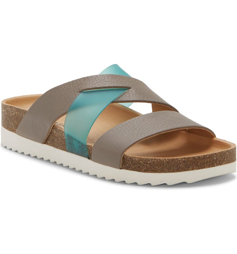 LUCKY BRAND Hafina Slide Sandal, Main, color, DRIFTWOOD/ BLUE LEATHER