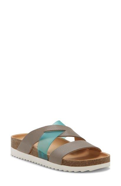 Lucky Brand Hafina Slide Sandal In Driftwood/ Blue Leather
