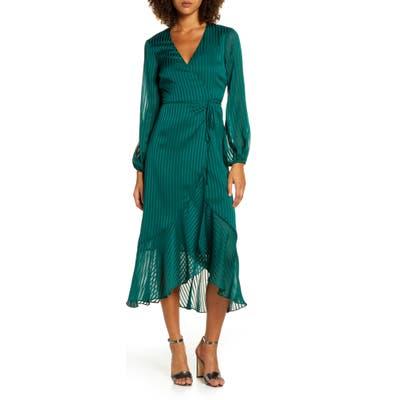Bardot Mirela Long Sleeve Midi Wrap Dress, Green