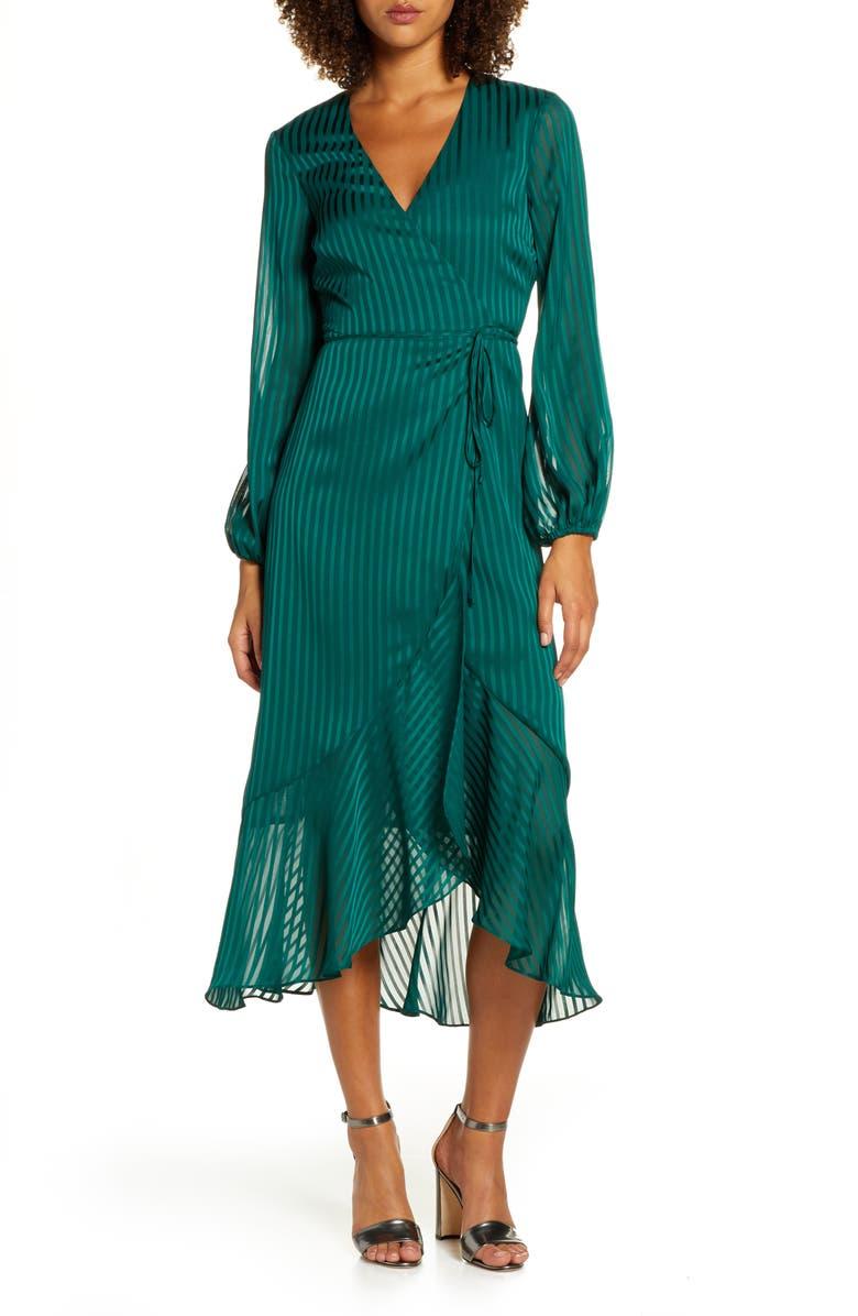 BARDOT Mirela Long Sleeve Midi Wrap Dress, Main, color, DARK GREEN