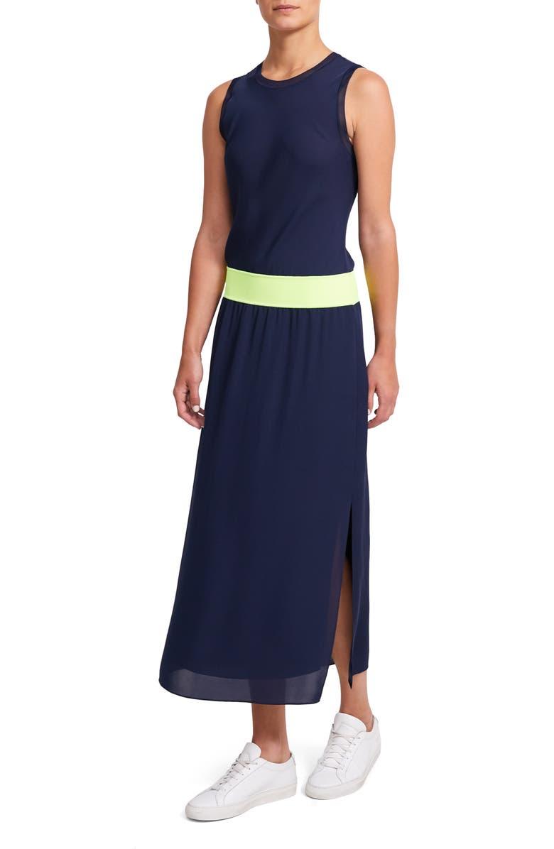 THEORY Lewie Silk Maxi Dress, Main, color, NAVY/ NEON YELLOW