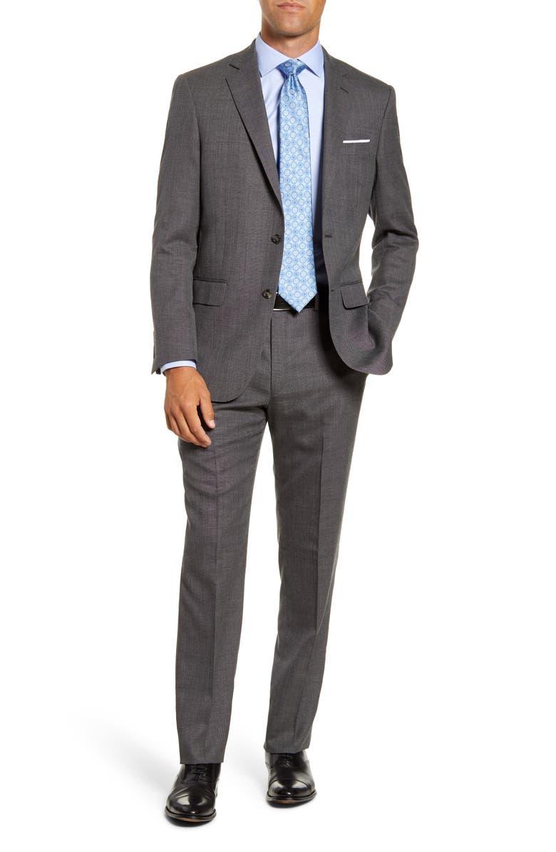 HART SCHAFFNER MARX Classic Fit Dot Wool Suit, Main, color, MEDIUM GREY