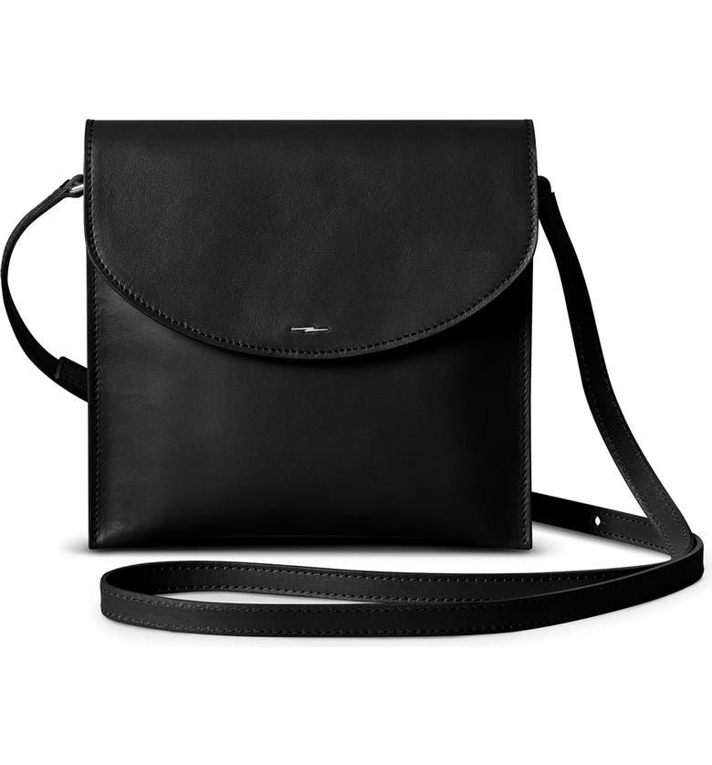 SHINOLA Crescent Leather Crossbody Bag, Main, color, BLACK