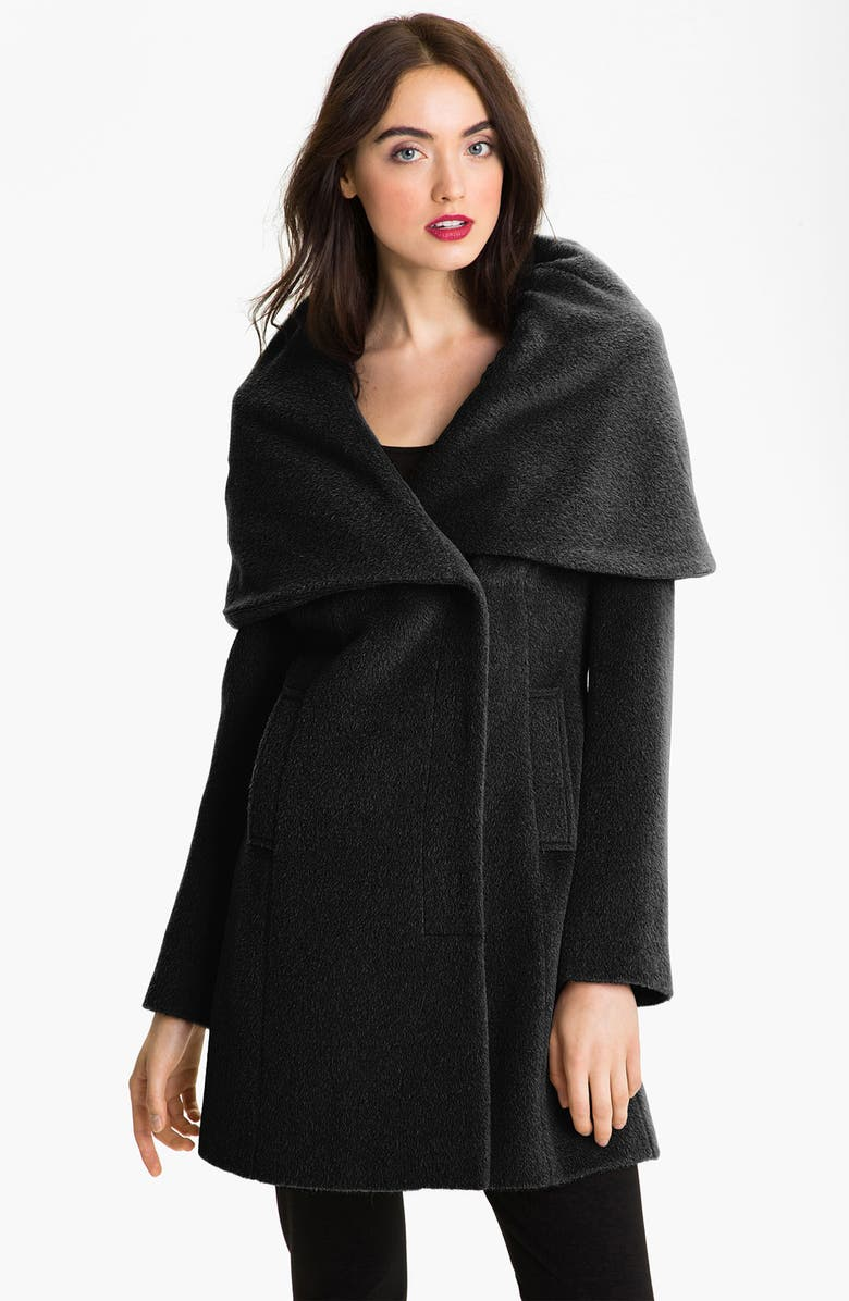ELIE TAHARI Shawl Collar Wrap Coat, Main, color, 001
