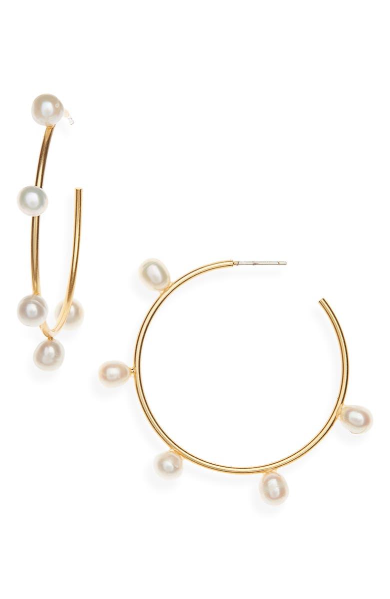 MADEWELL Cultured Pearl Hoop Earrings, Main, color, VINTAGE GOLD