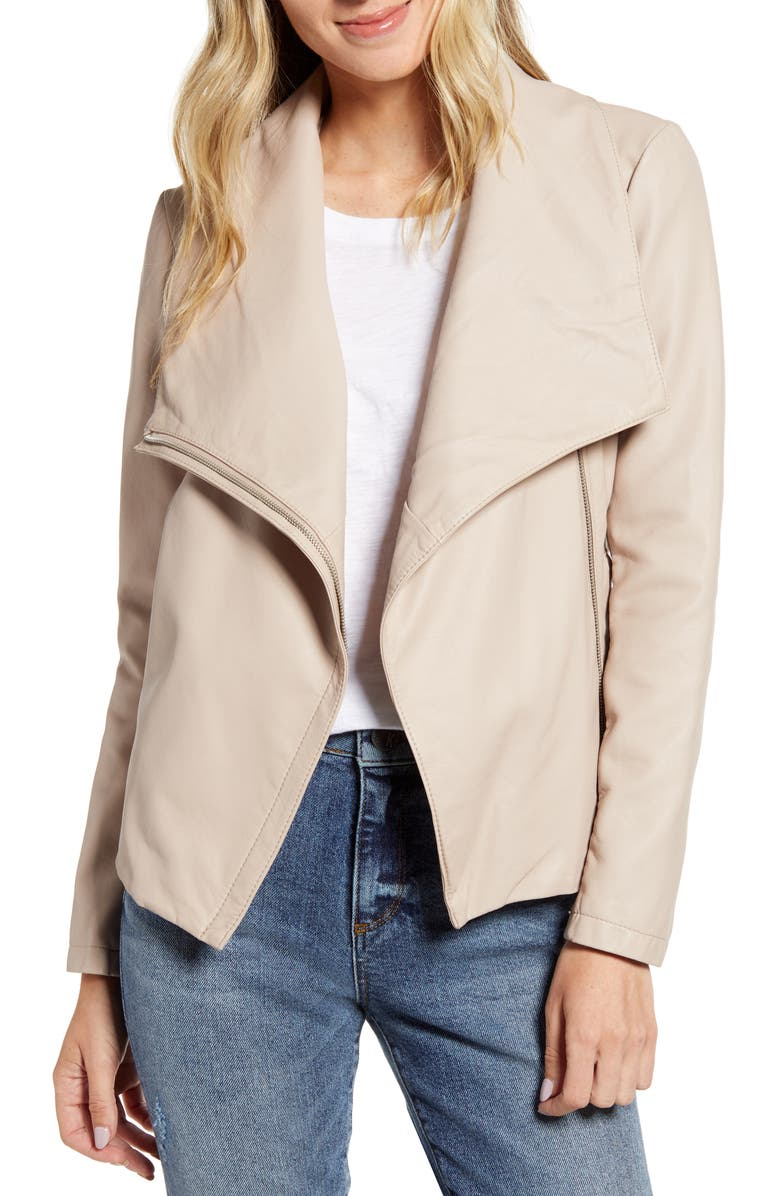 BB DAKOTA Up to Speed Faux Leather Moto Jacket, Main, color, PARCHMENT