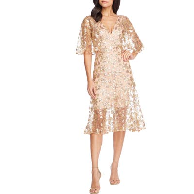 Dress The Population Roseanna Lace Sequin Fit & Flare Dress, Yellow