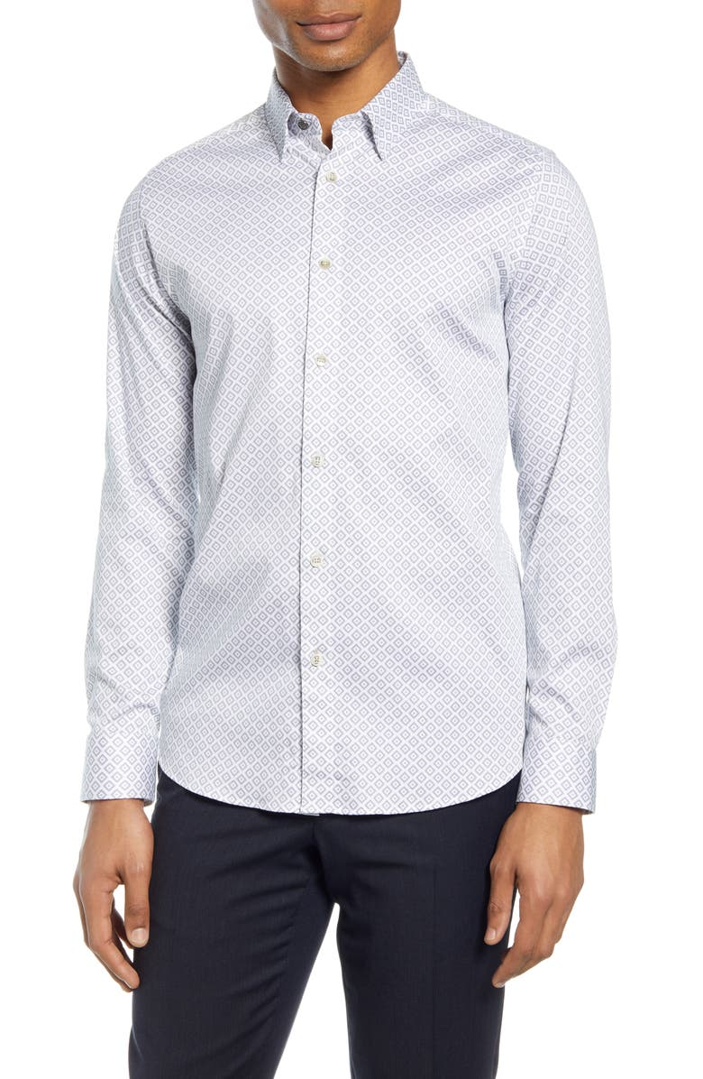 TED BAKER LONDON Offme Slim Fit Geo Print Button-Up Shirt, Main, color, WHITE