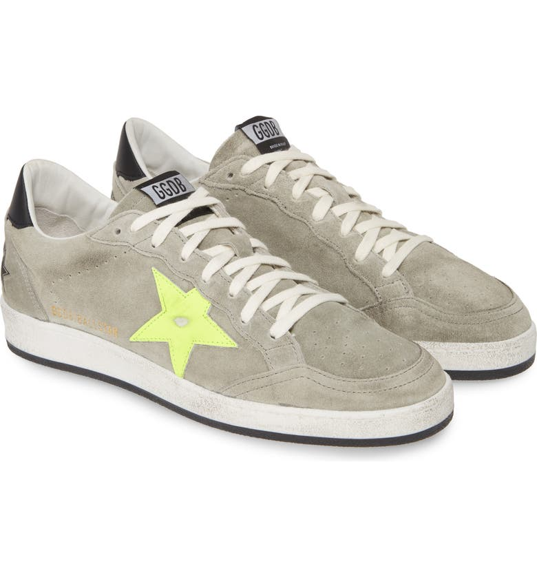GOLDEN GOOSE B-Ball Star Sneaker, Main, color, ICE SUEDE/ FLUO STAR
