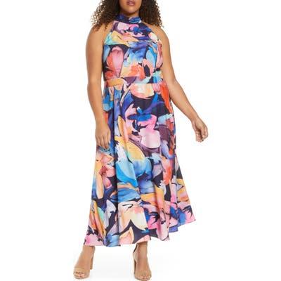 Plus Size Tahari Halter Neck Midi Dress, Blue