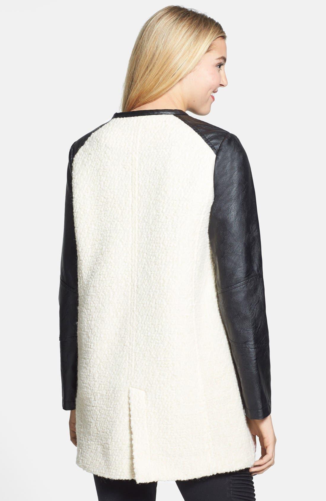 ,                             Colorblock Faux Leather Bouclé Knit Coat,                             Alternate thumbnail 2, color,                             900