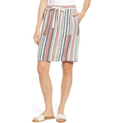 Petite Caslon Patch Pocket Linen Blend Skirt, Beige