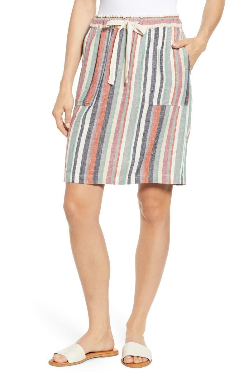 CASLON<SUP>®</SUP> Patch Pocket Linen Blend Skirt, Main, color, BEIGE ANNABELLE MULTI STRIPE