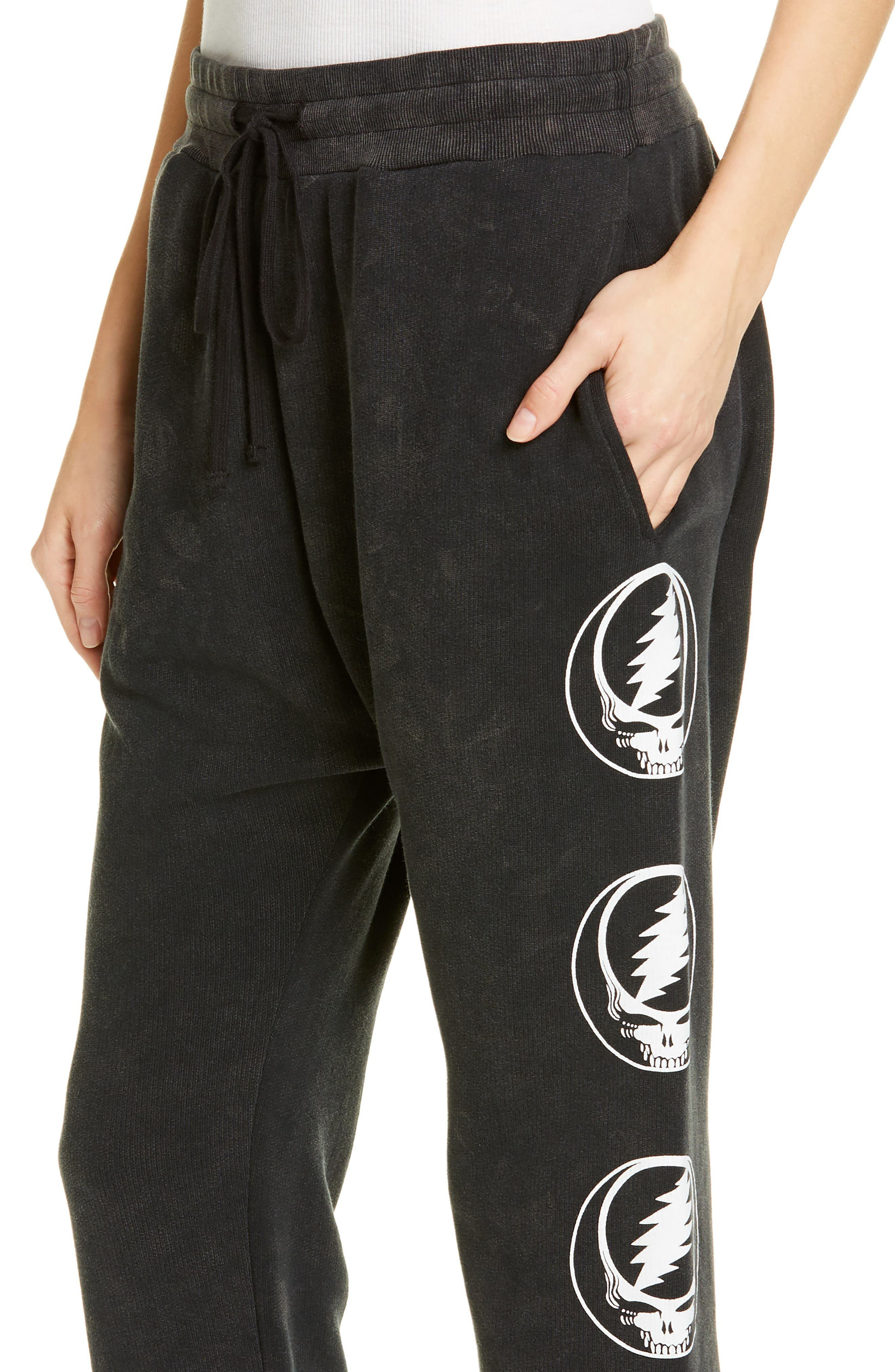 ,                             Steal Your Face Graphic Crop Sweatpants,                             Alternate thumbnail 4, color,                             ACID BLACK