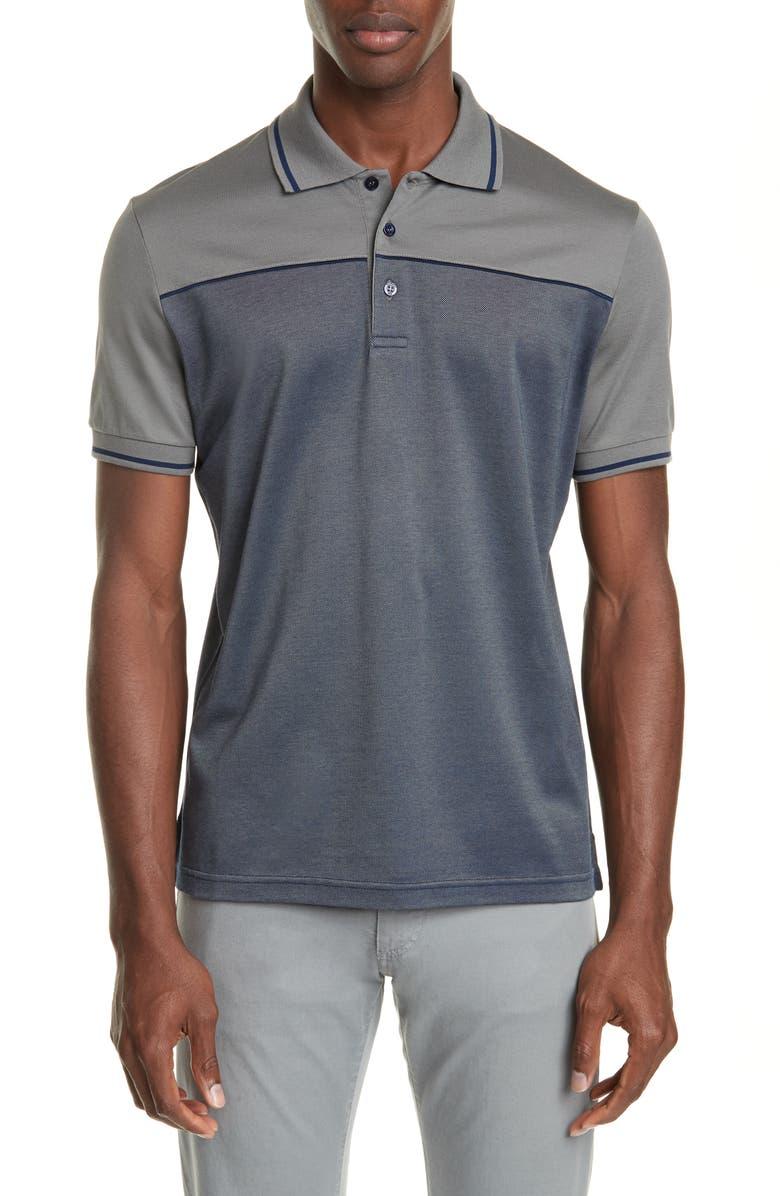 CANALI Colorblock Cotton Polo Shirt, Main, color, GREY