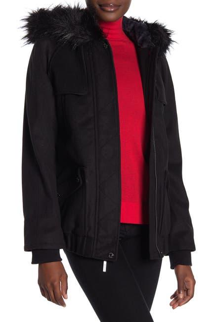 Image of Kensie Faux Fur Lined Coat