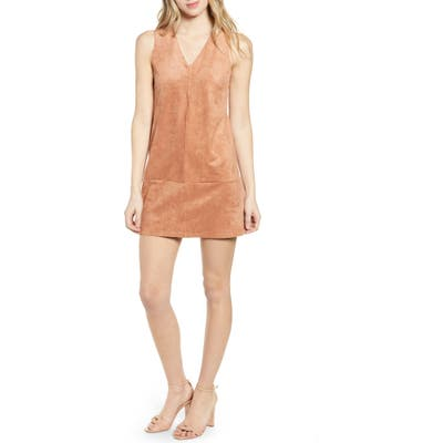 Bishop + Young V-Neck Faux Suede Shift Dress, Orange