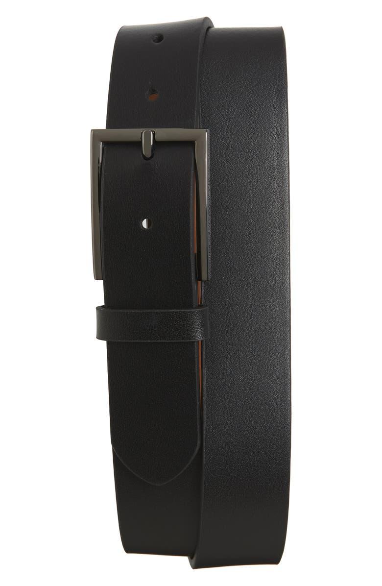 NORDSTROM MEN'S SHOP Victor Leather Belt, Main, color, BLACK