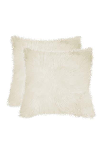 Image of Natural New Zealand 18x18 Genuine Sheepskin Pillow - Set of 2 - Natural