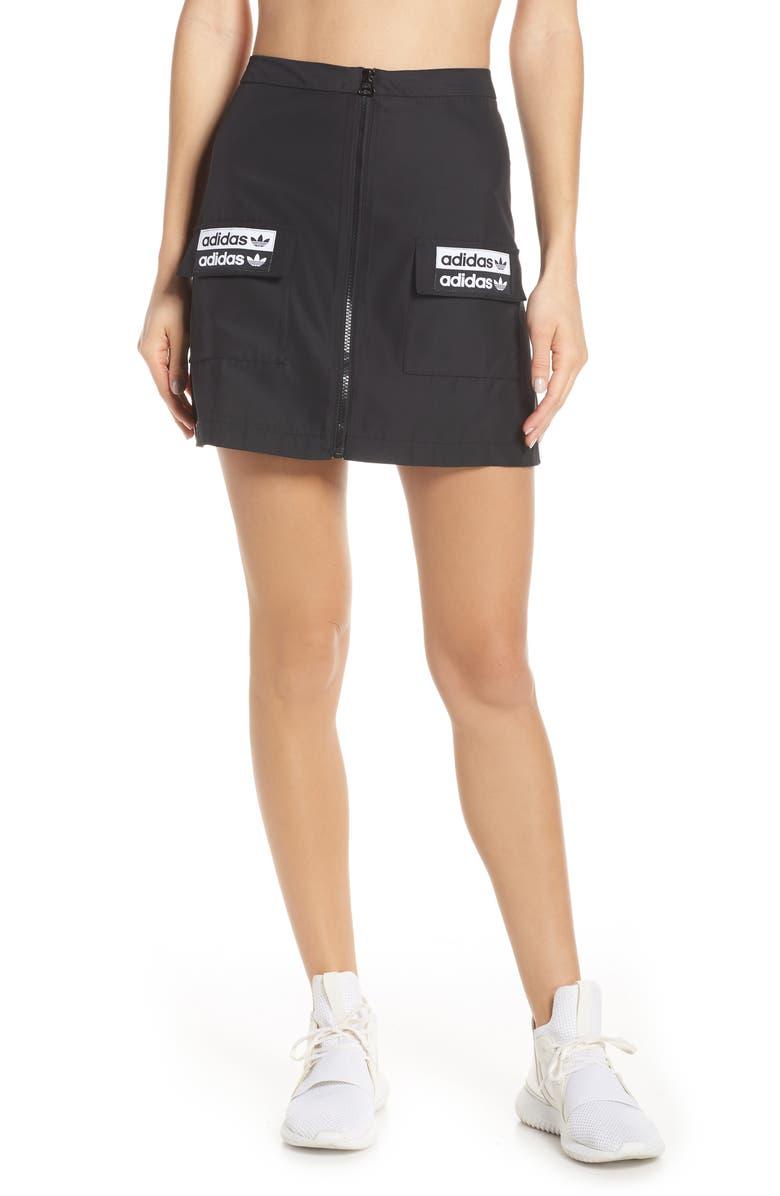 ADIDAS ORIGINALS Zip Cargo Skirt, Main, color, BLACK