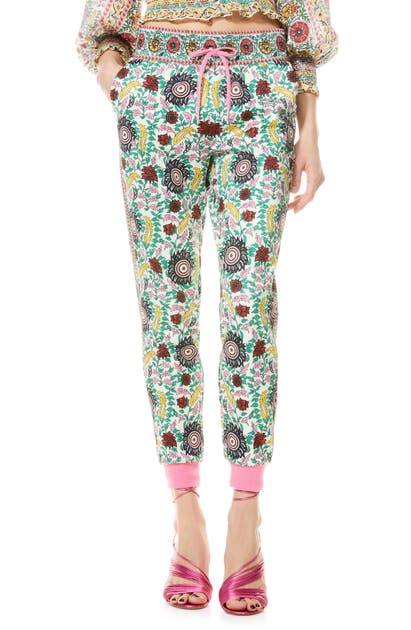 Alice And Olivia NYC FLORAL SLIM JOGGERS