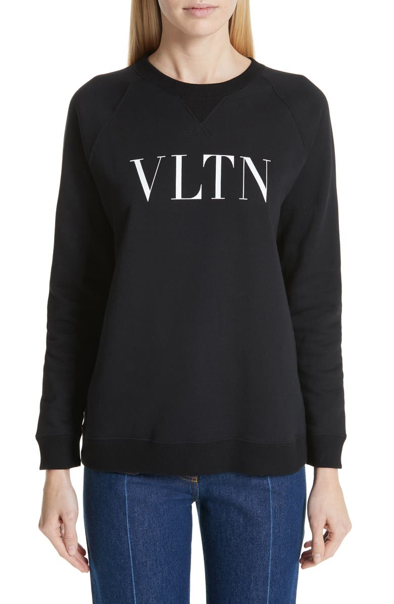 VALENTINO VLTN Logo Sweatshirt, Main, color, BLACK