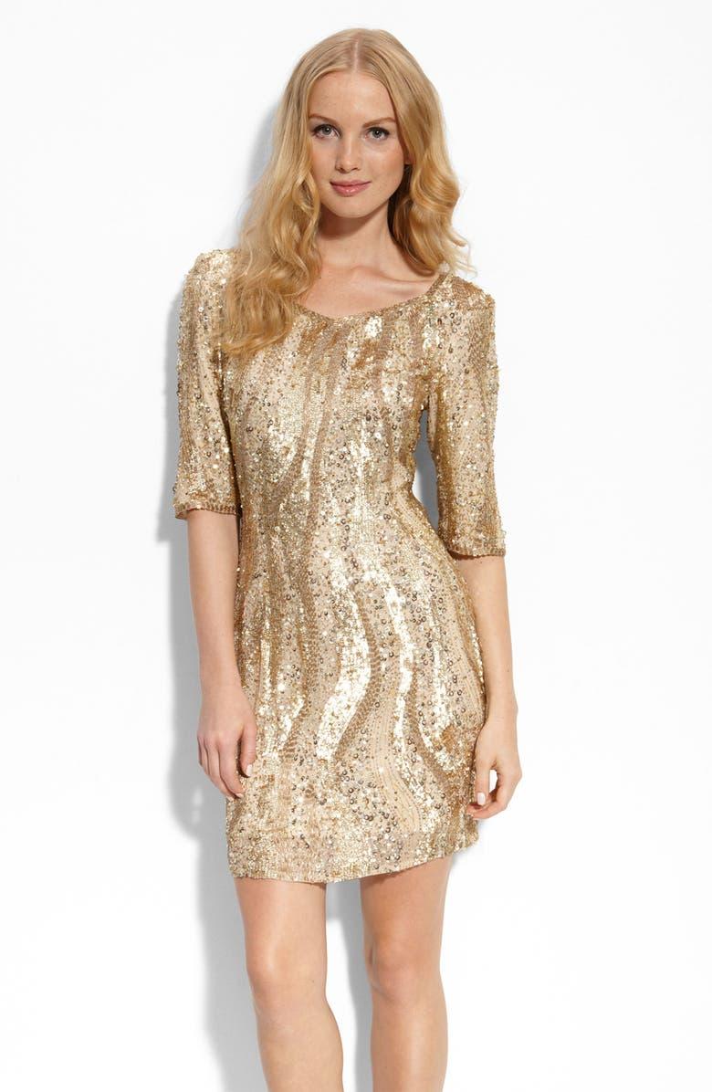 ADRIANNA PAPELL Beaded Sheath Dress, Main, color, 291