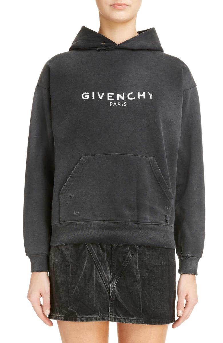 GIVENCHY Destroyed Logo Hoodie, Main, color, 001