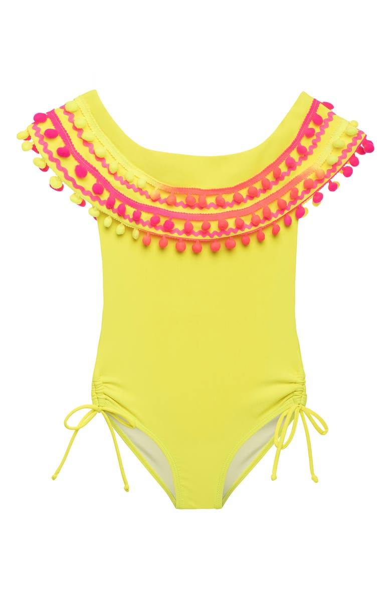 STELLA COVE Neon Pompom One-Piece Swimsuit, Main, color, 700