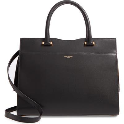 Saint Laurent Medium Uptown Calfskin Leather Satchel - Black