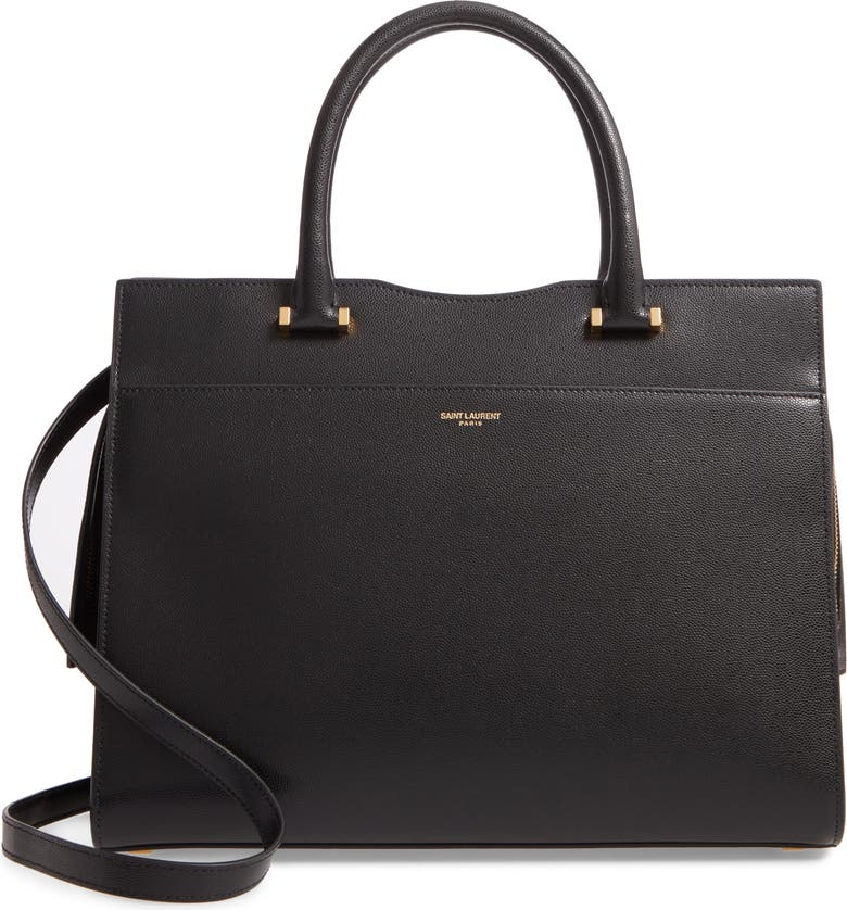 SAINT LAURENT Medium Uptown Calfskin Leather Satchel, Main, color, NOIR