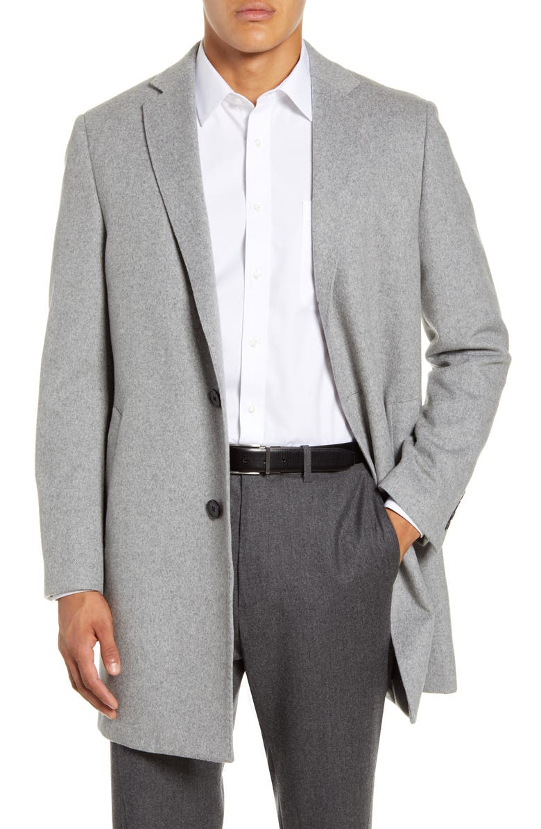 NORDSTROM MEN'S SHOP Taylor Trim Fit Overcoat, Main, color, GREY MICRO HEATHER