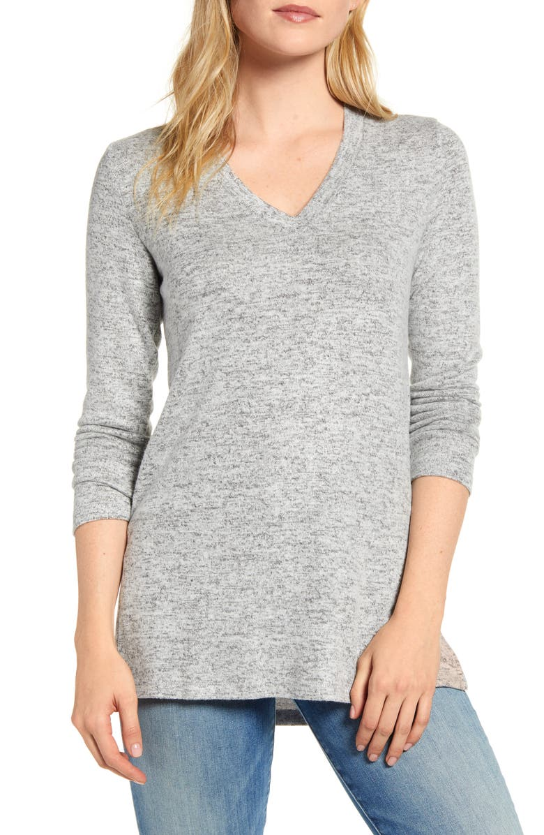 BOBEAU Cozy V-Neck Tunic, Main, color, H GREY