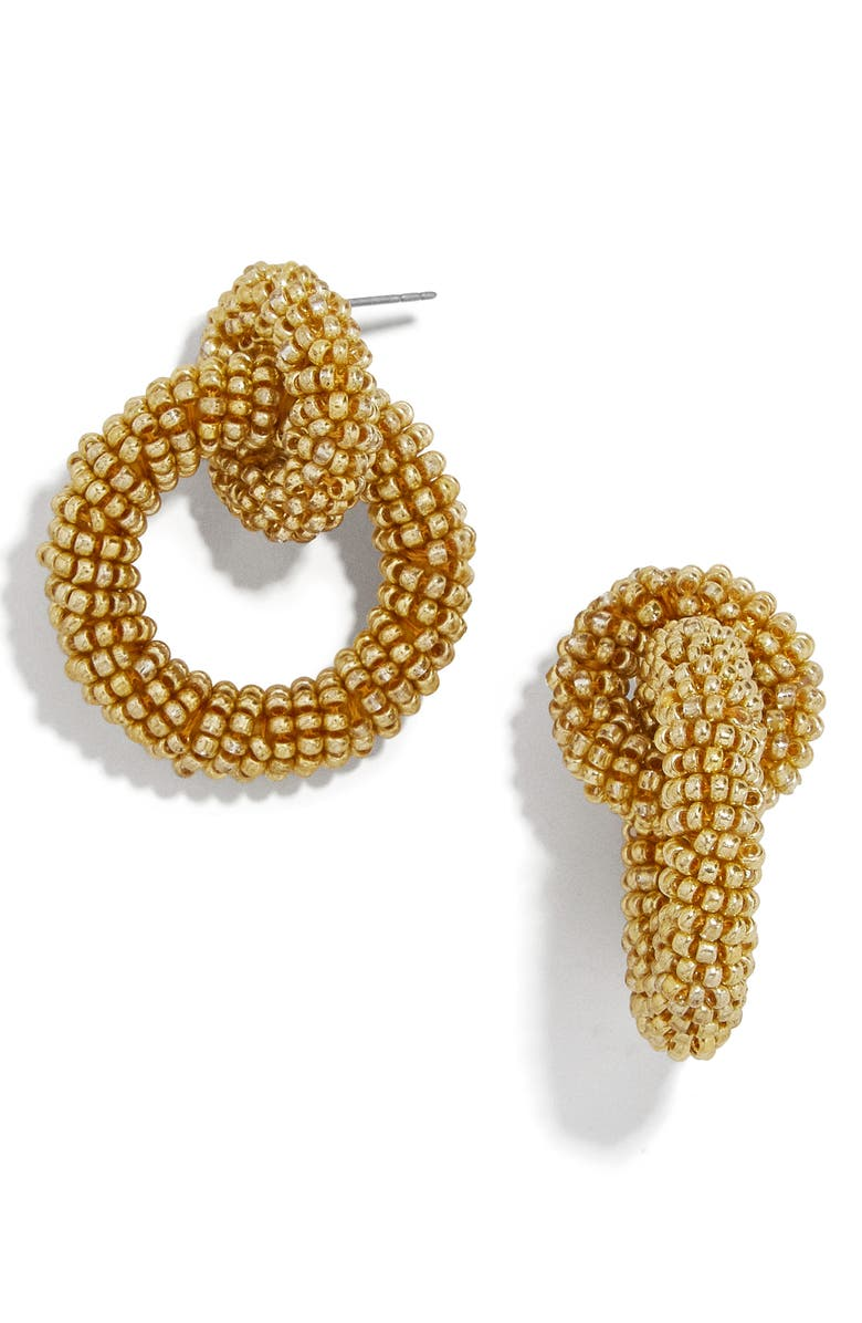 BAUBLEBAR Mini Emma Beaded Hoop Earrings, Main, color, GOLD