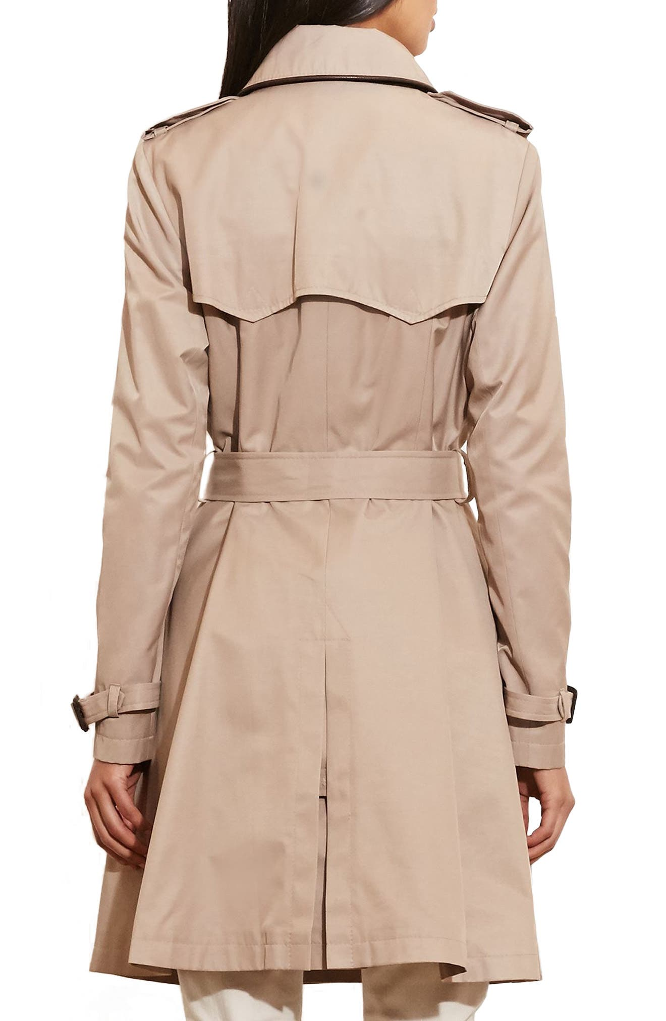 ,                             Faux Leather Trim Trench Coat,                             Alternate thumbnail 30, color,                             255