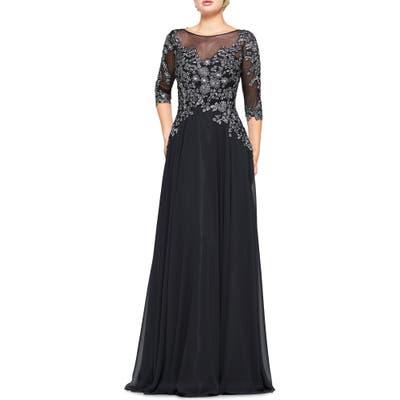 Marsoni Metallic Lace & Chiffon A-Line Evening Gown, Black