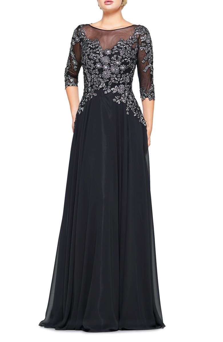 MARSONI Metallic Lace & Chiffon A-Line Evening Gown, Main, color, BLACK