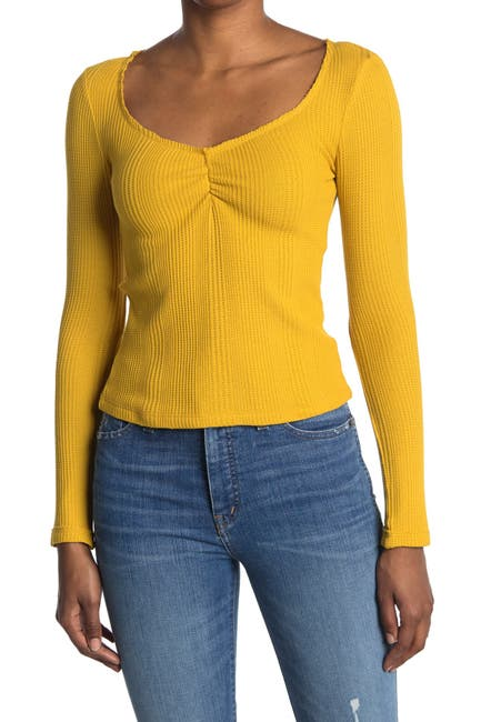 Image of Elodie Cinched Long Sleeve Thermal Knit Top