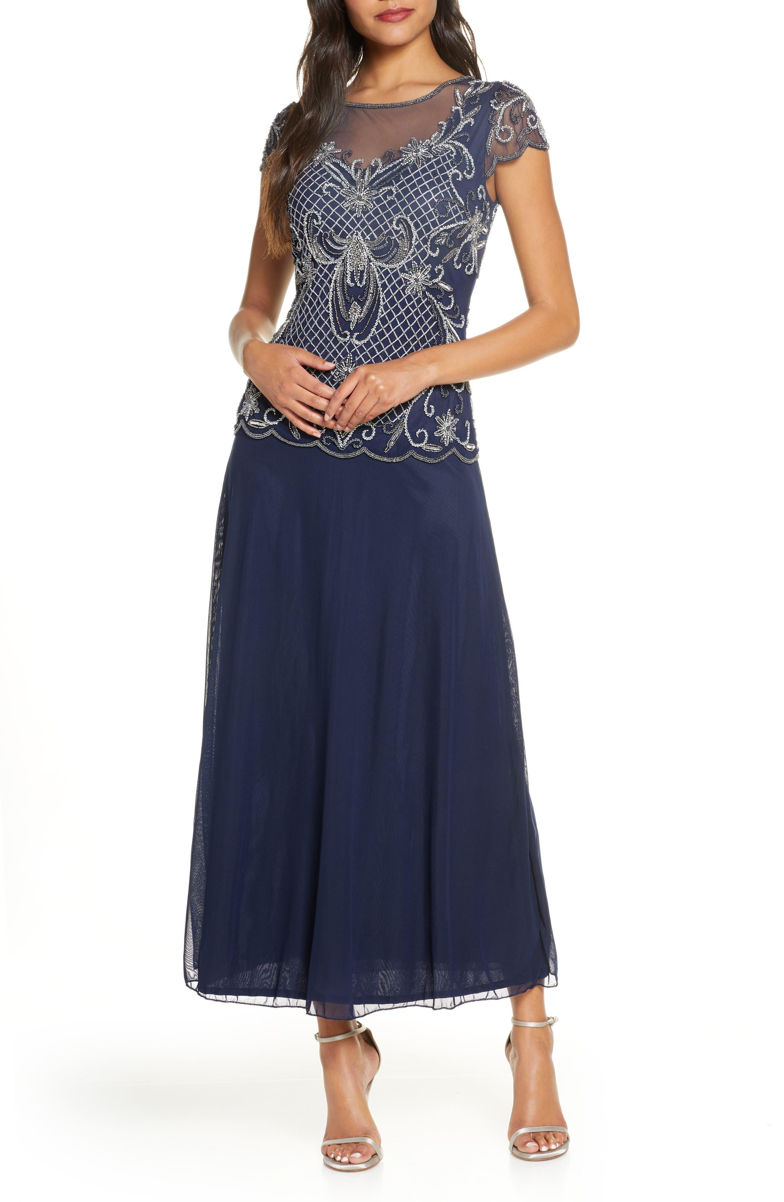 1920s Style Dresses, 20s Dresses Womens Pisarro Nights Mock Two-Piece Beaded Bodice Evening Dress Size 14 - Blue $118.80 AT vintagedancer.com