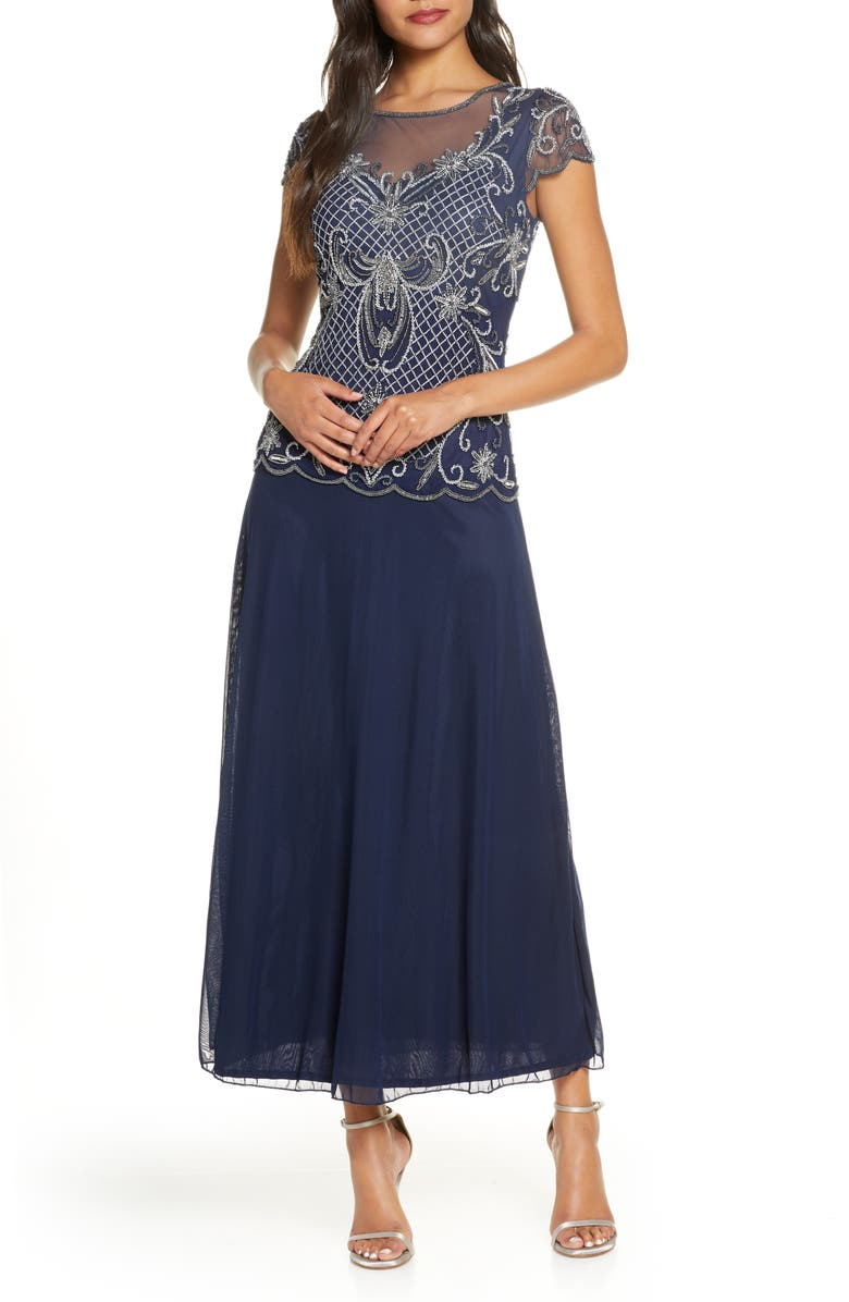PISARRO NIGHTS Mock Two-Piece Beaded Bodice Evening Dress, Main, color, NAVY