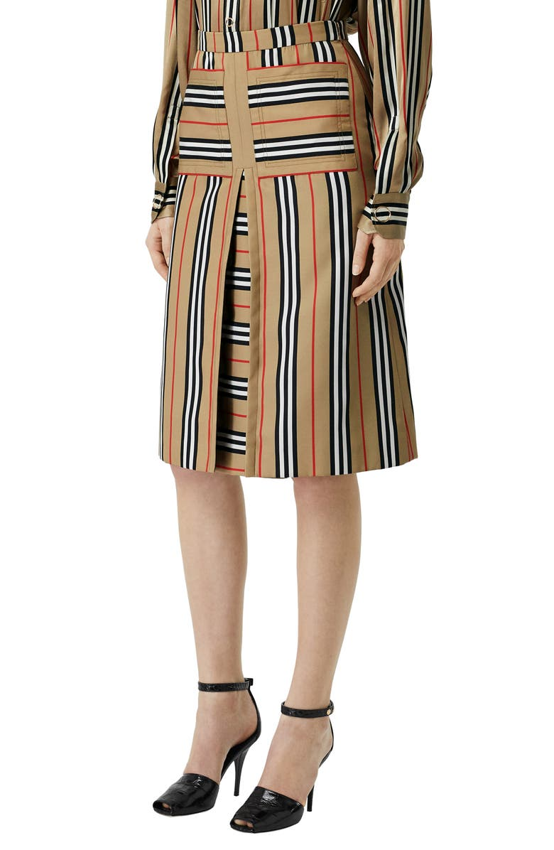 BURBERRY Arisa Icon Stripe Skirt, Main, color, ARCHIVE BEIGE