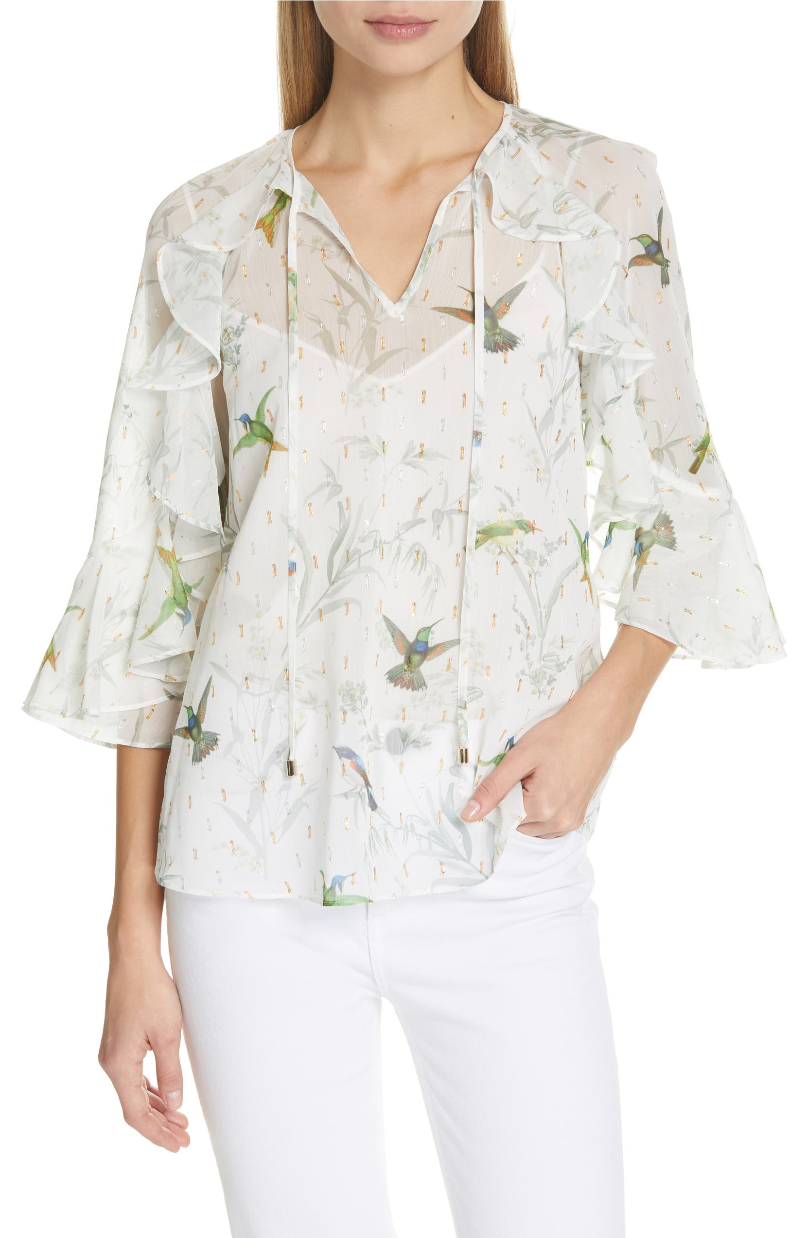 680a2416fccba2 Ted Baker London Lassii White Fortune Blouse | Nordstrom