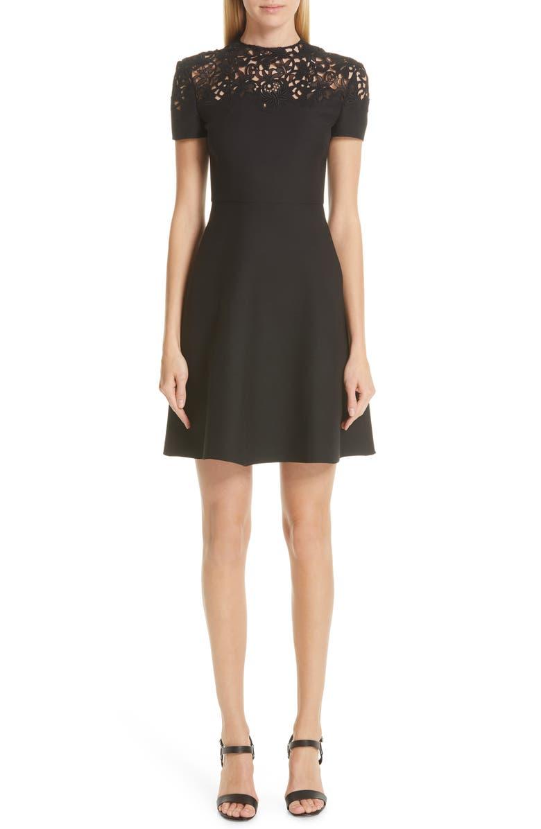 VALENTINO Lace Yoke Wool & Silk A-Line Dress, Main, color, 0NO-NERO