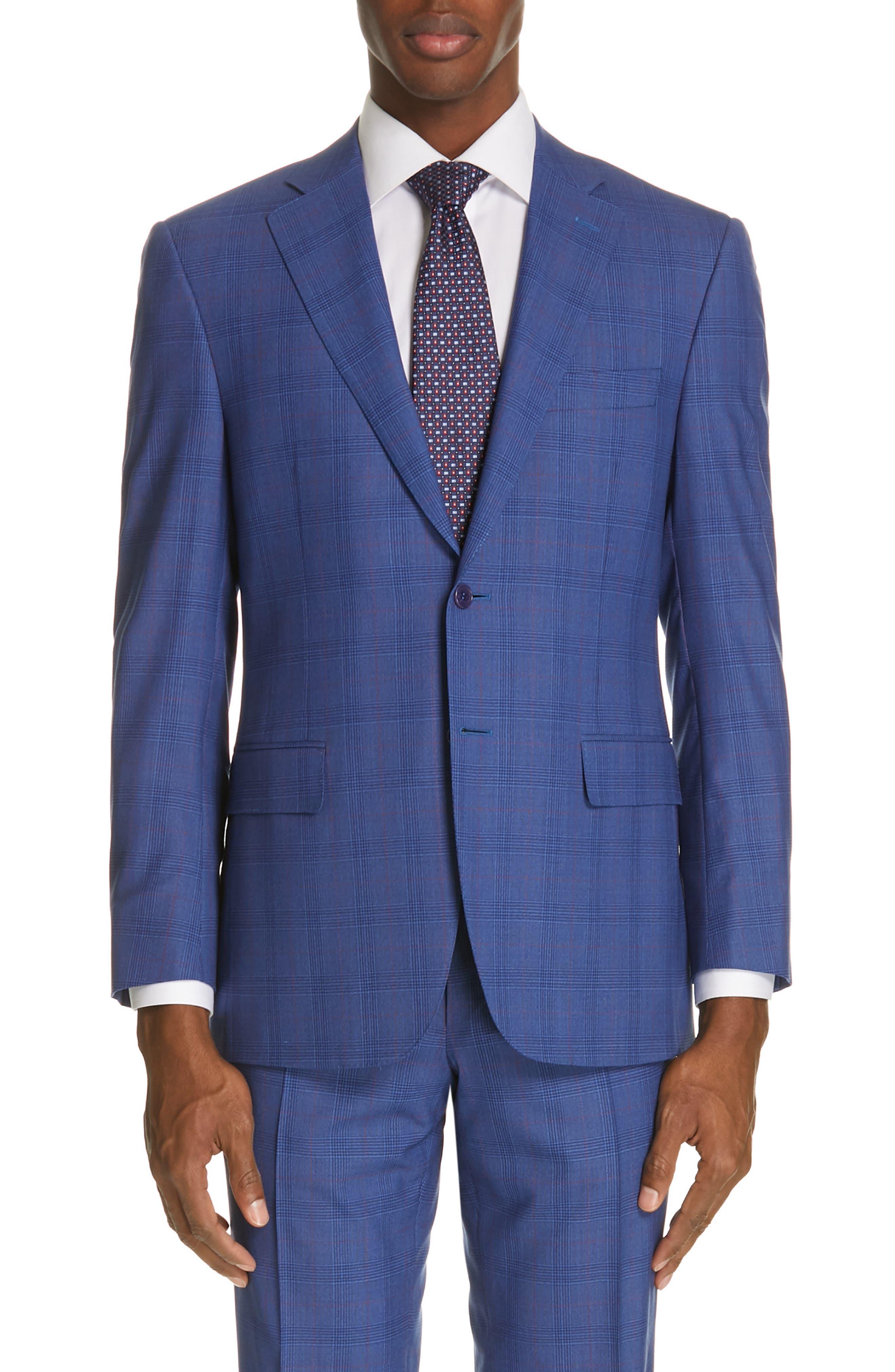 ,                             Siena Classic Fit Deco Plaid Super 130s Wool Suit,                             Alternate thumbnail 5, color,                             BLUE