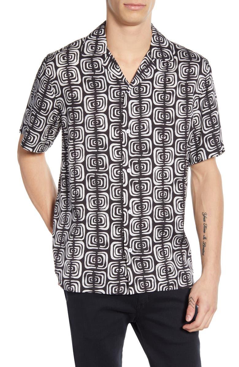 SATURDAYS NYC Canty Kuba Print Camp Shirt, Main, color, BLACK